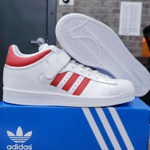 New Adidas Pro Shell Superstars White Red Stripes